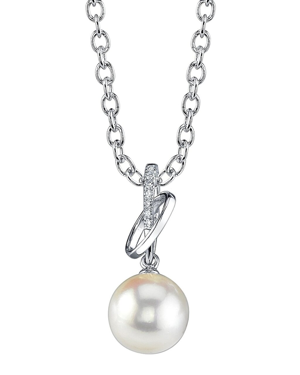 This exquisite pendant features an 8.0-9.0mm White South Sea Pearl, handpicked for its luminous luster