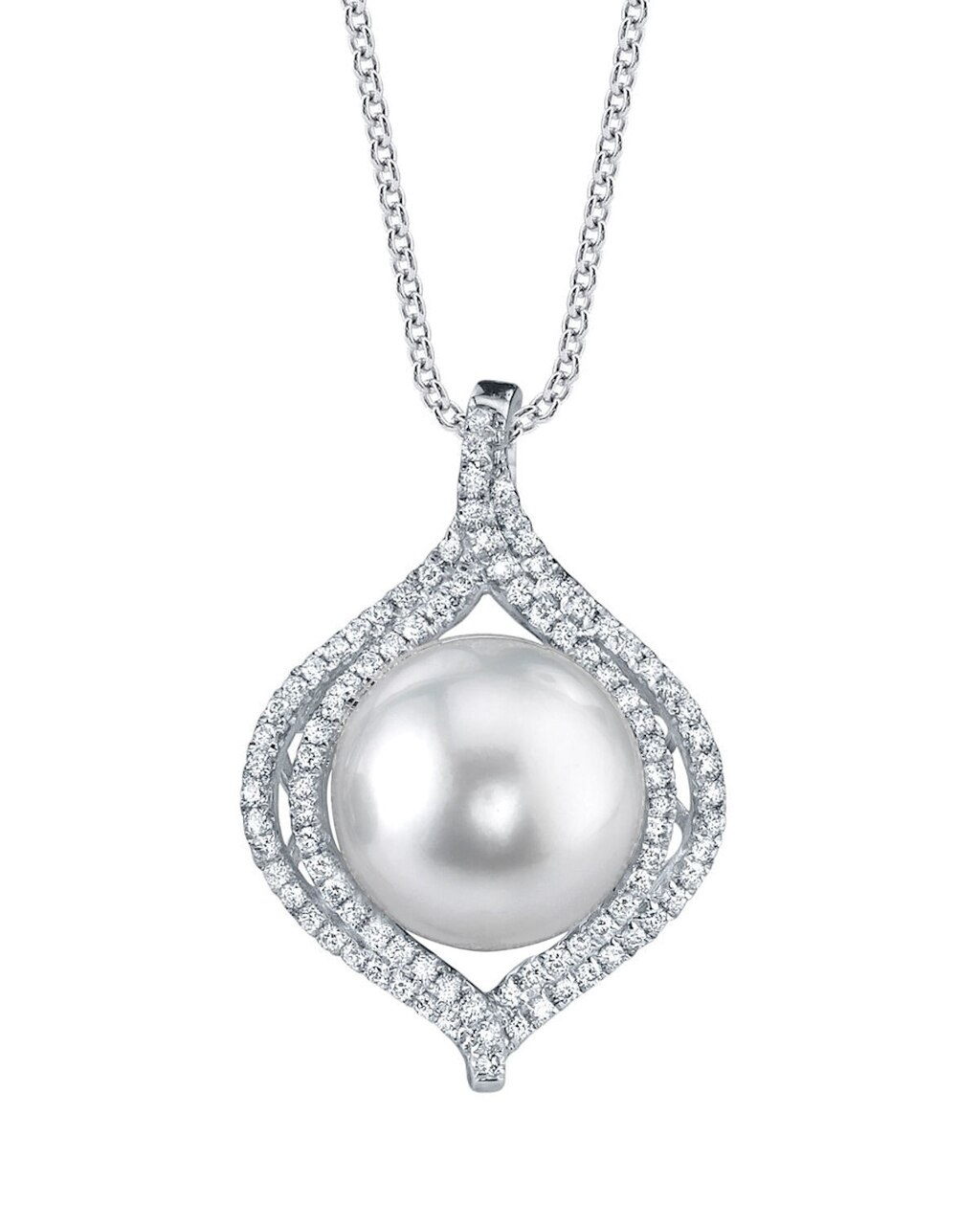 This exquisite pendant features an 12.0-13.0mm White South Sea Pearl, handpicked for its luminous luster