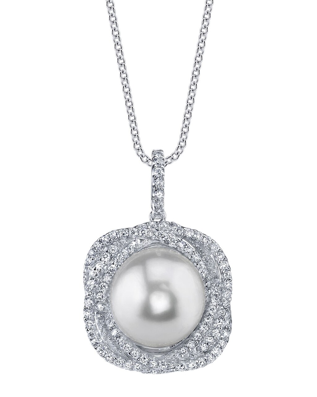 This exquisite pendant features an 11.0-12.0mm White South Sea Pearl, handpicked for its luminous luster