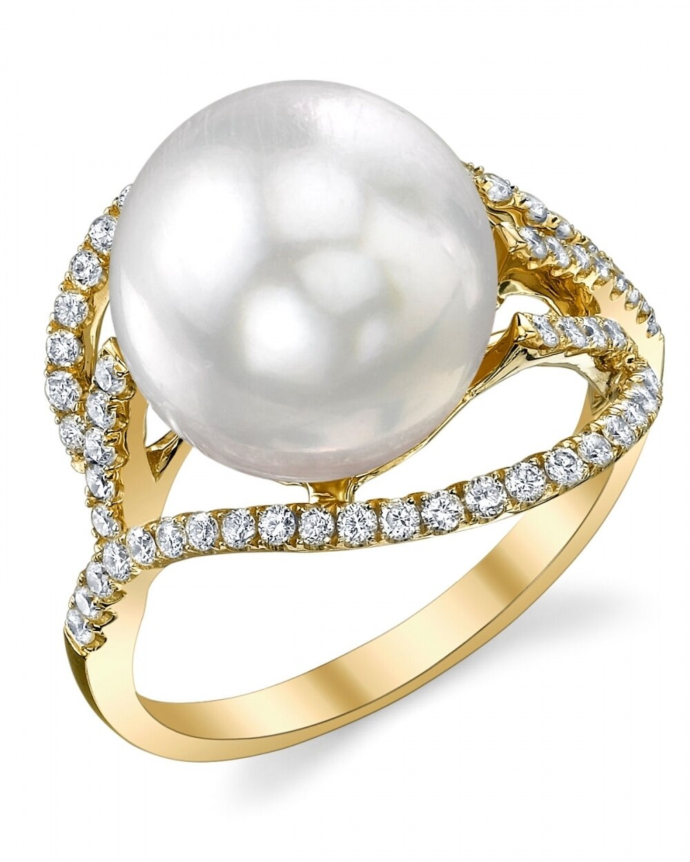 This exquisite ring features an 11.0-12.0mm White South Sea pearl, handpicked for its luminous luster