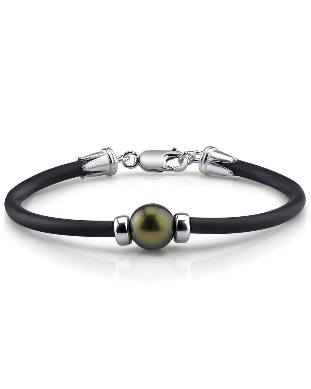 This beautiful bracelet features a round shaped Tahitian South Sea pearl
