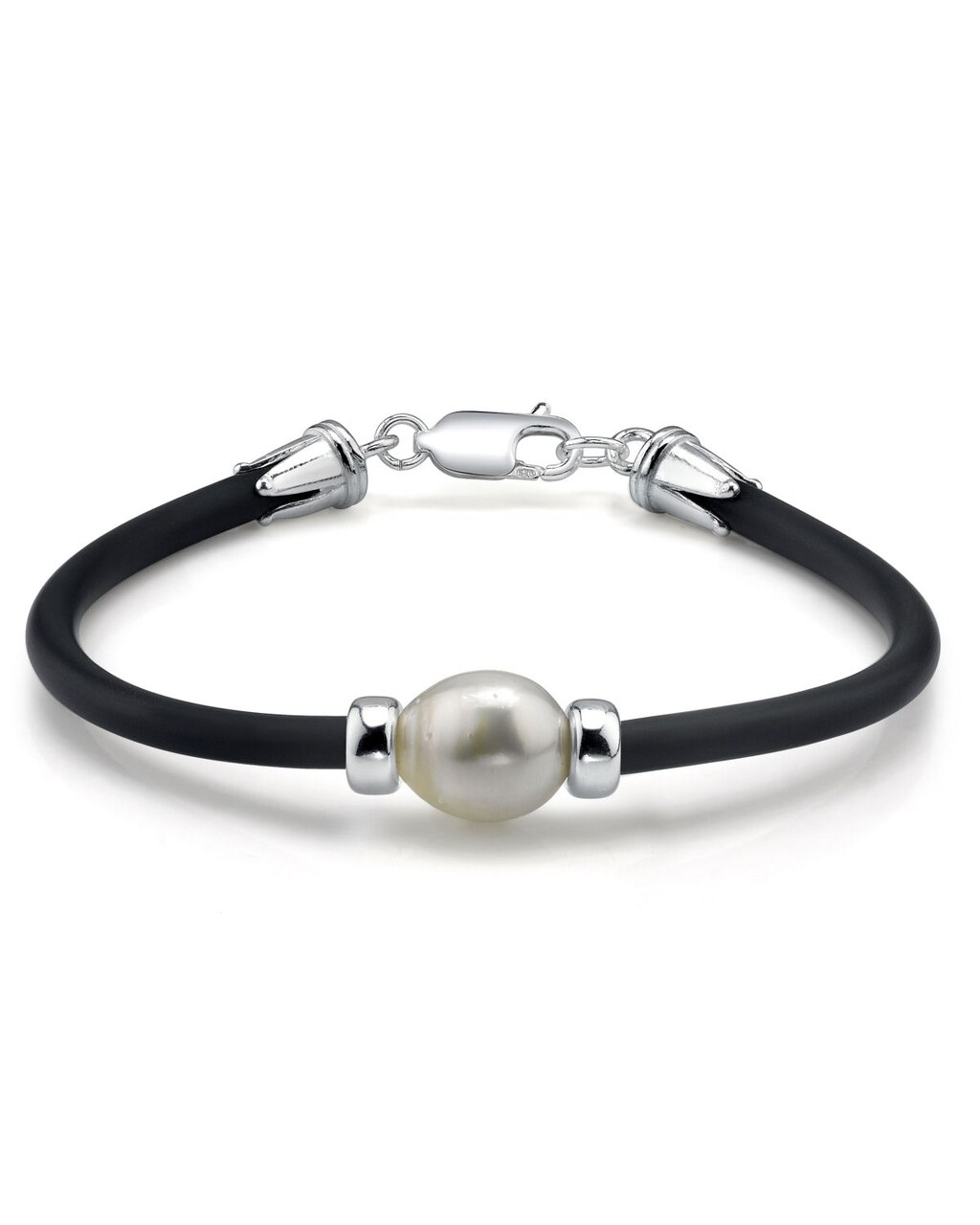This beautiful bracelet features a baroque shaped White South Sea pearl