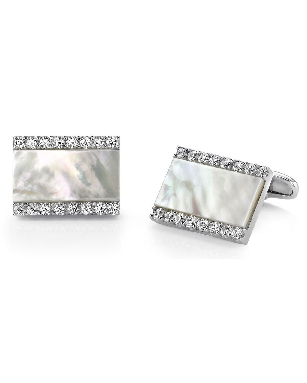 These stunning cufflinks feature beautiful mother of pearl and cubic zirconia crystals