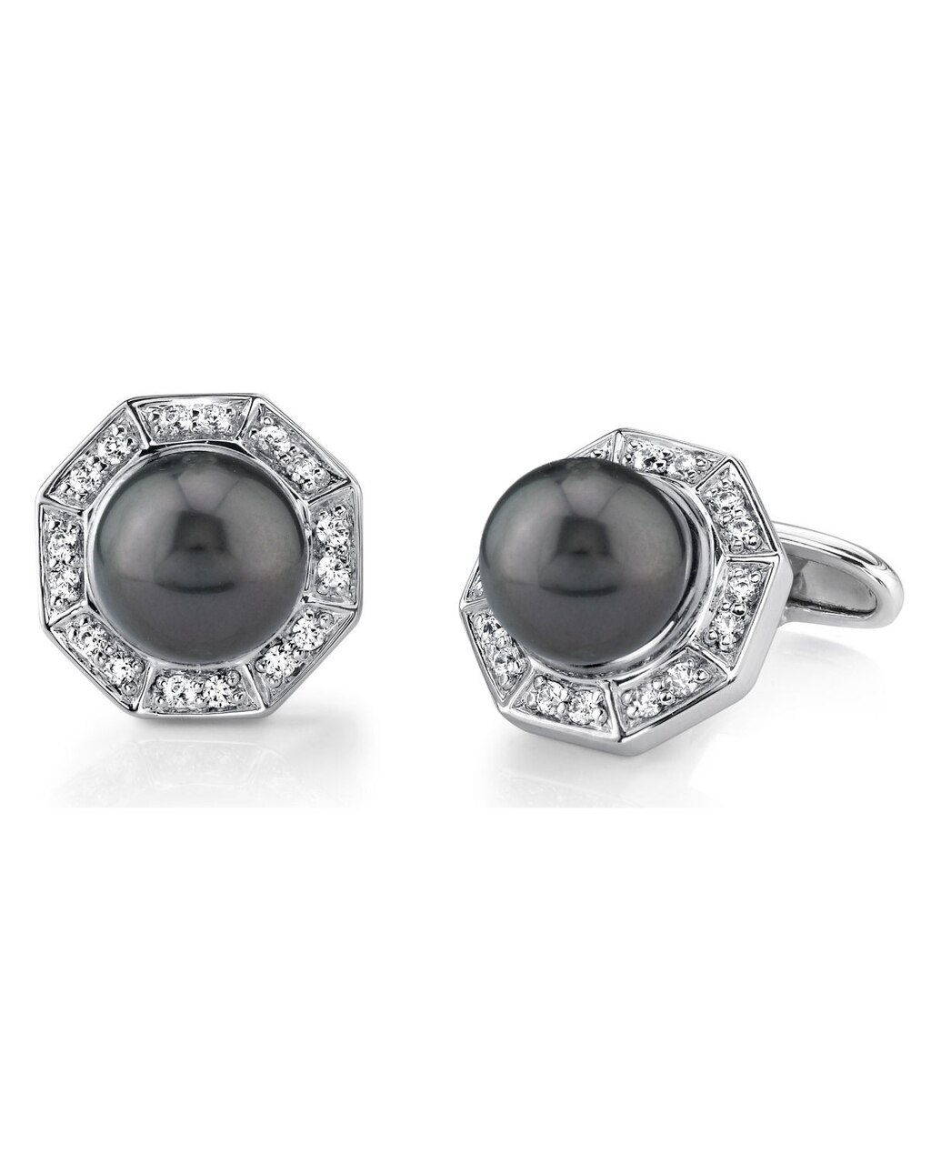 These stunning cufflinks feature beautiful Tahitian South Sea pearl and cubic zirconia crystals
