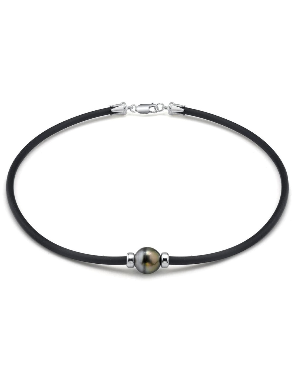 This beautiful necklace features a circle baroque shaped Tahitian South Sea pearl