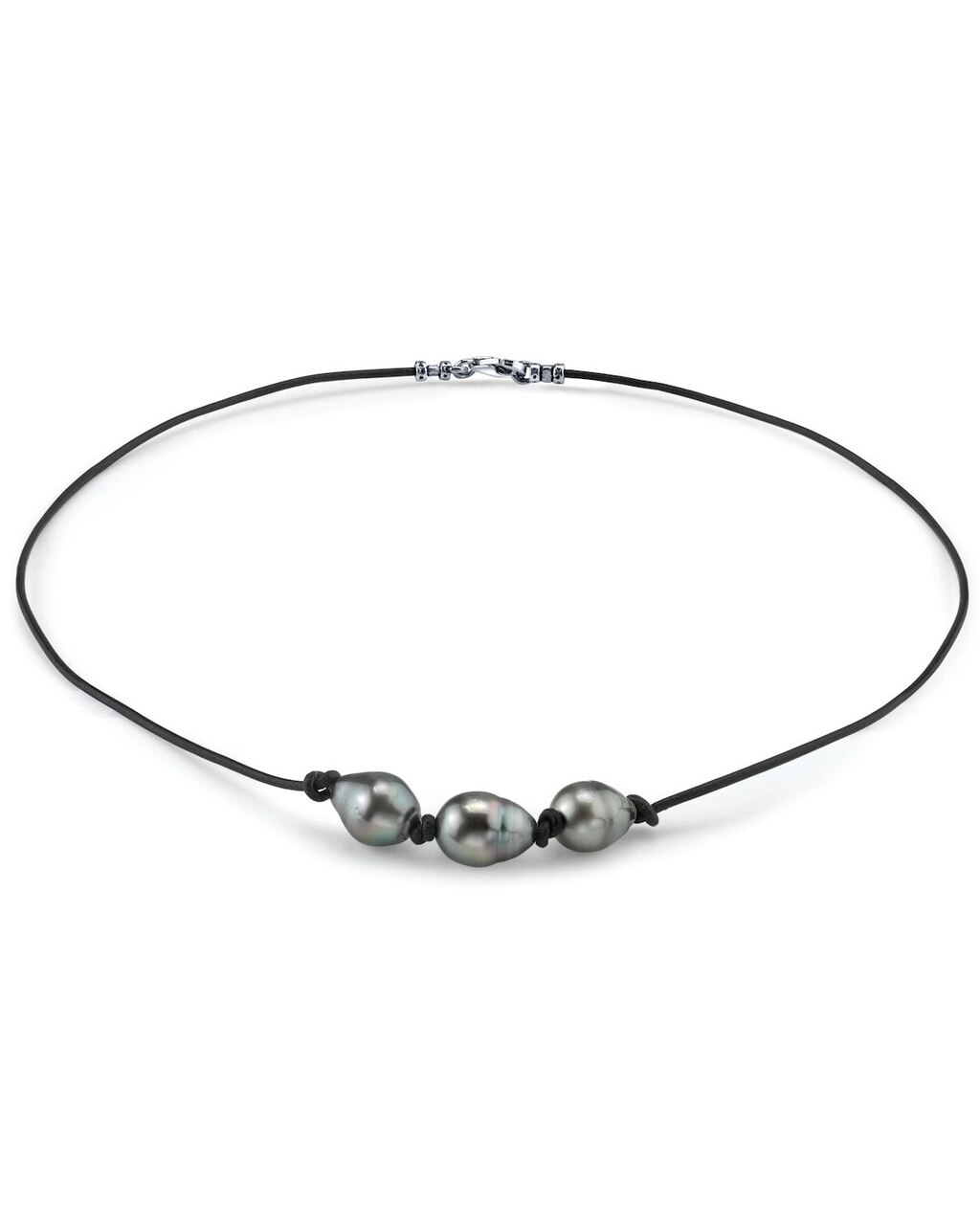 This beautiful necklace features three baroque shaped Tahitian South Sea pearls