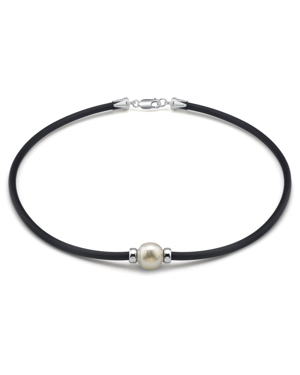 This beautiful necklace features a baroque shaped White South Sea pearl