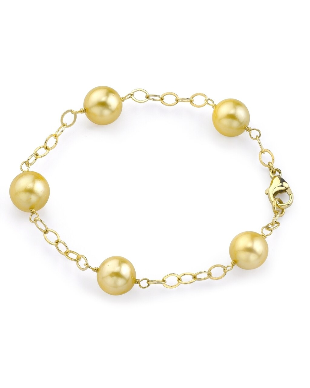 This exquisite bracelet features 9.0-10.0mm Golden South Sea pearls, handpicked for their radiant luster