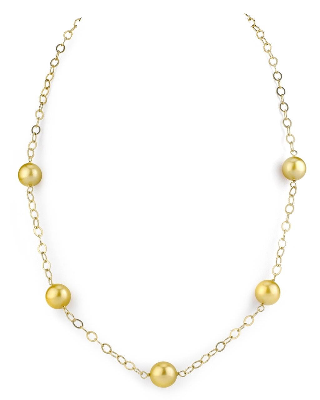 This exquisite necklace features 9.0-10.0mm Golden South Sea pearls, handpicked for their radiant luster
