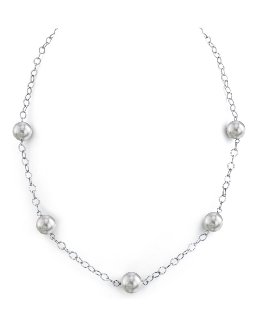 This exquisite necklace features 9.0-10.0mm White South Sea pearls, handpicked for their radiant luster