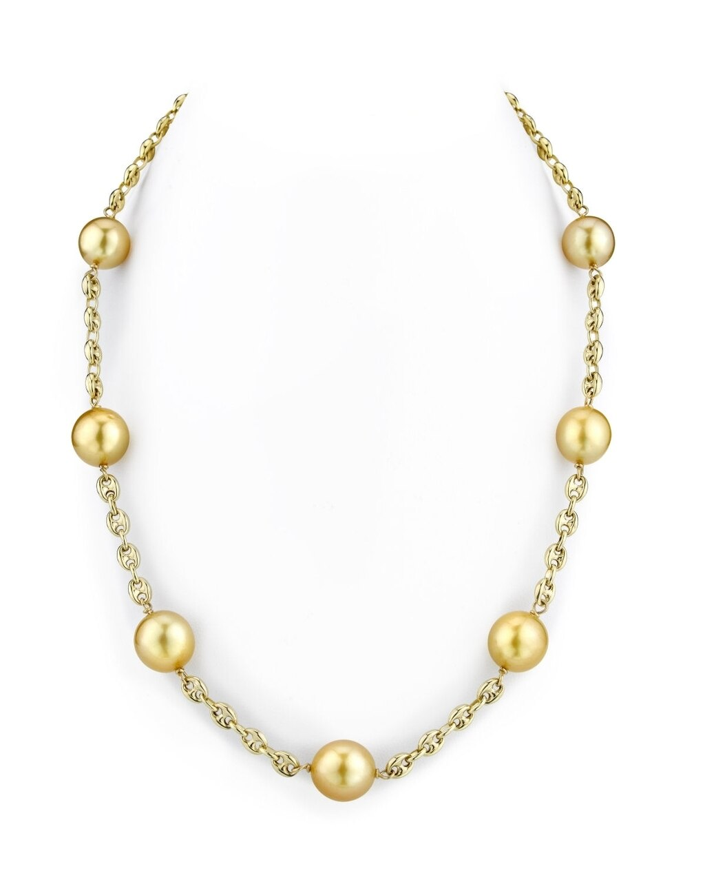 This exquisite necklace features 10.0-11.0mm Golden South Sea pearls, handpicked for their radiant luster