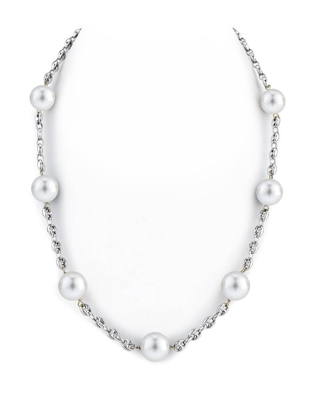 This exquisite necklace features 10.0-11.0mm White South Sea pearls, handpicked for their radiant luster